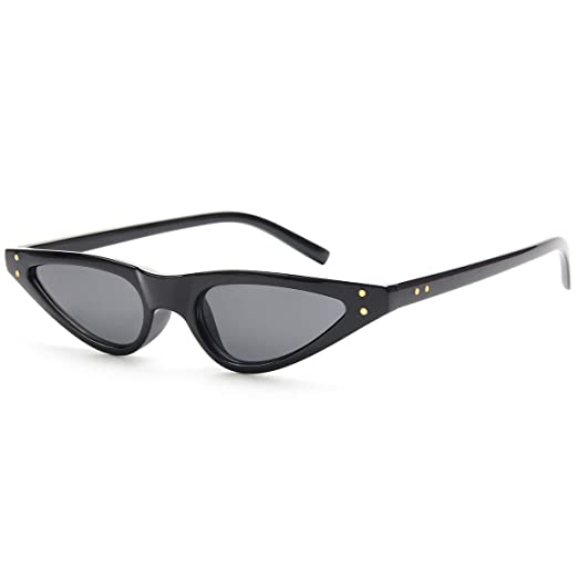 3a8c378136b9b Livhò Retro Vintage Narrow Cat Eye Sunglasses for Women Clout Goggles  Plastic Frame (Black