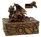 5 Inch Steampunk Dragon Topped Mechanical Box Statue Figurine