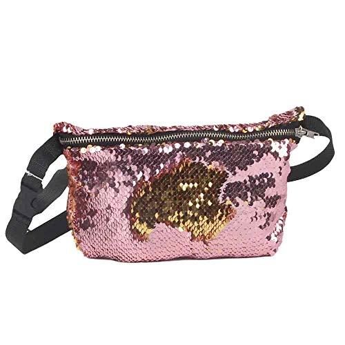 Daisy Storee Fashion Waist Bags Women Casual Double Color Shiny Sequins Unisex Chest Belt Bag Super Quality