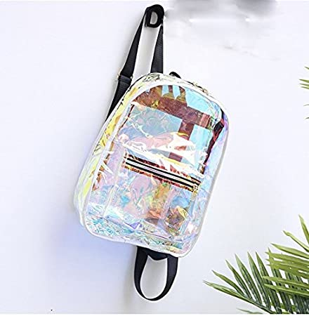 Fashion Clear Backpack High Capacity Transparent Jelly Security Bag For School Travel White
