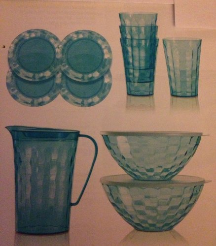 Tupperware Ice Prisms 11 Piece Sparkling Blue Set ~ 4 Tumblers, a Pitcher, 2 Bowls and 4 Party Plates (Tupperware Tumblers Acrylic)