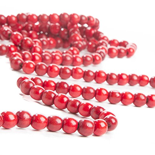 (Factory Direct Craft 10 FEET Festive Cranberry Colored Wood Bead Garland for Holidays, and Home Decor)