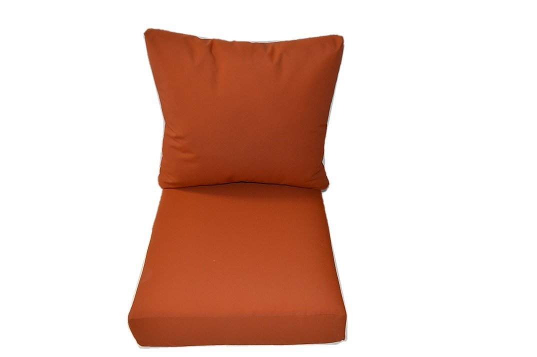 Indoor / Outdoor Cushions for Patio Outdoor Deep Seating Furniture Chair - Ember Orange - Choice of Size (SEAT CUSHION - 20.5''W X 22''D)