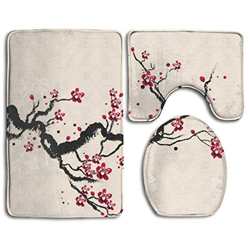 Beach Surfer Plum Tree Blossom Ink Painting Chinese Paint 3 Piece Bathroom Mat Sets Pedestal Rug Lid Toilet Cover Doormat Carpet Rug Bath Mat