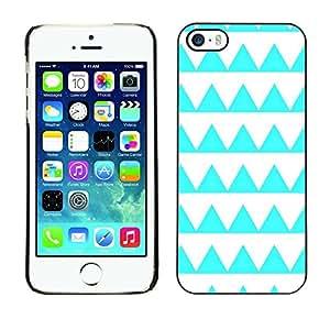 FECELL CITY // Duro Aluminio Pegatina PC Caso decorativo Funda Carcasa de Protección para Apple Iphone 5 / 5S // Aquamarine Pattern White Shape
