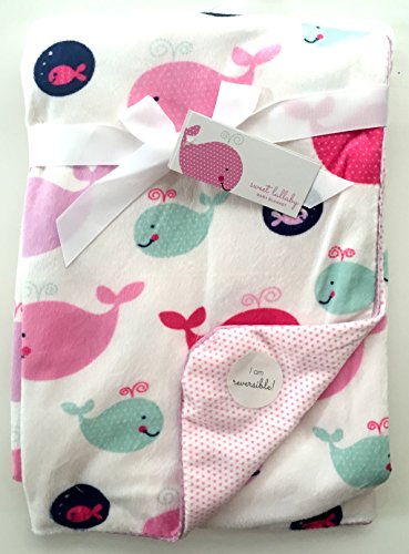 "Sweet Lullaby Reversible Baby Blanket 30"" x 40"", happy whale"
