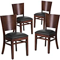 Flash Furniture 4 Pk. Lacey Series Solid Back Walnut Wood Restaurant Chair - Black Vinyl Seat