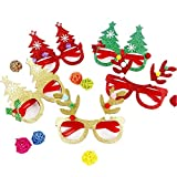 cheap4uk Christmas Novelty Glasses Christmas Party Favours Photo Booth Props Fancy Dress Glasses for Children Kids Pack of 3(Glitter)