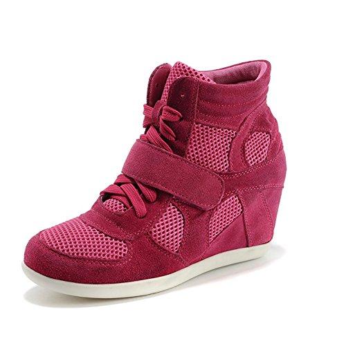 Shenn Womens Hak Ademende Haak & Lus Nylon & Suede Fashion Sneakers Rose