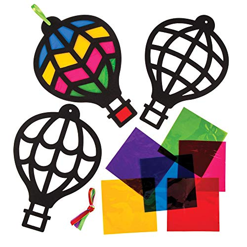 Baker Ross Hot Air Balloon Stained Glass Decorations (Pack of 6) AW637 for Kids to Assemble and Display -