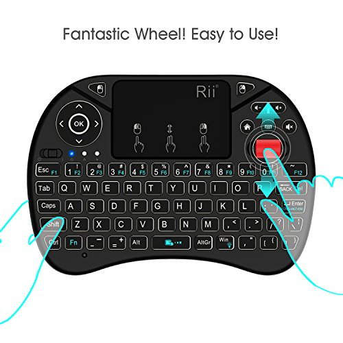2018 Rii i8X 2.4GHz Mini Wireless Keyboard with Touchpad Mouse Combo, LED Backlit,Rechargeable Li-ion Battery-Black by Rii (Image #2)