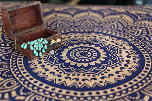 Folkulture Mandala Tapestry Hippie Wall Hanging, Indian Ombre Bohemian Mandala Bedding Bedspread Set for Bedroom, College Dorm Room Wall Art Decor or Home Blanket, Blue Gold Queen Size Boho Coverlet