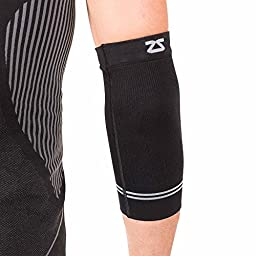 Zensah Compression Tennis Elbow Sleeve for Elbow Tendonitis, Tennis Elbow, Golfer\'s Elbow - Elbow Support, Elbow Brace,Medium,Black