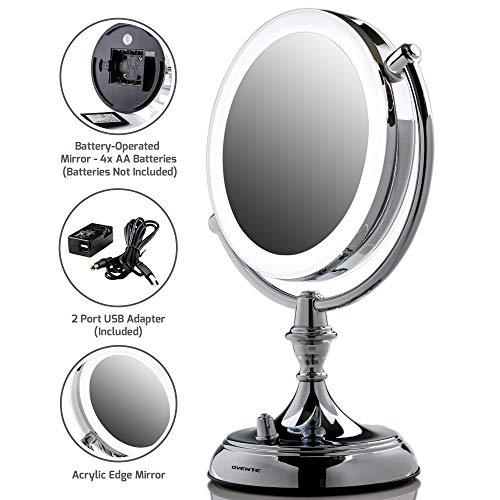 Ovente LED Lighted Makeup Mirror, Dimmable, Battery or USB Adapter Operated, 7.5 inch, 1x/10x Magnification, Polished Chrome (MGT75CH)