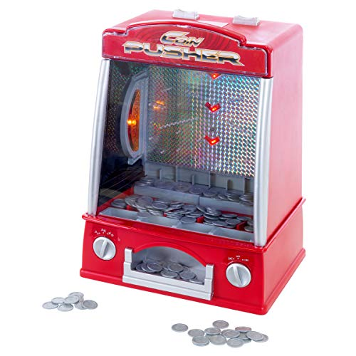 Hey! Play! Coin Pusher Miniature Arcade Game - Replica Classic Penny & Dime Dozer Table Or bar Top Prize Vending Machine for Kids & Adults