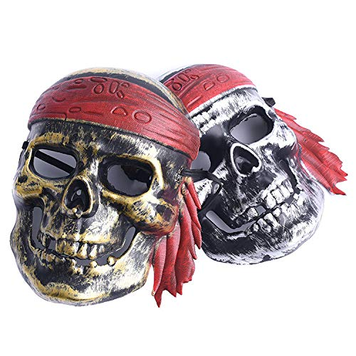LBAFS Halloween Bar Masquerade Horror Scary Ghost Festival Taro Pirates Vintage Mask for Men and Women(2pcs)]()