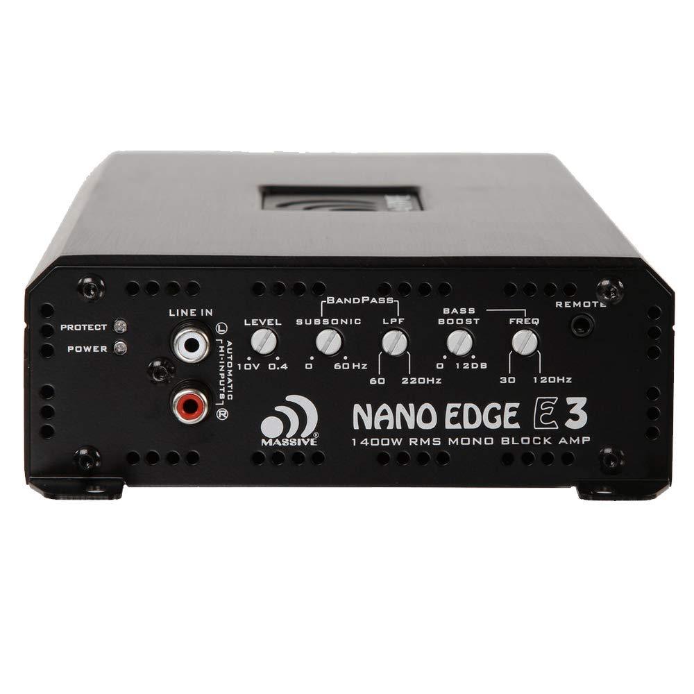 Amazon.com: Massive Audio E3 - Car Audio 2,800 Watt Nano Edge Series, Monoblock Car Amplifier, Bass Boost, 1 Ohm Stable: Car Electronics
