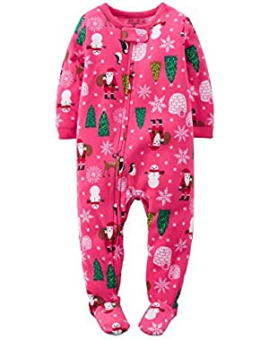Baby Girls' Holiday Microfleece 1 Piece Footed Sleeper Pajamas (24 Months, Pink Holiday)
