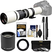 Vivitar 500mm f/8.0 Telephoto Lens (T Mount) (White) with 2x Teleconverter (=1000mm) + Monopod + 3 Filters Kit for Nikon D3200, D3300, D5300, D5500, D7100, D7200, D610, D750, D810 Camera