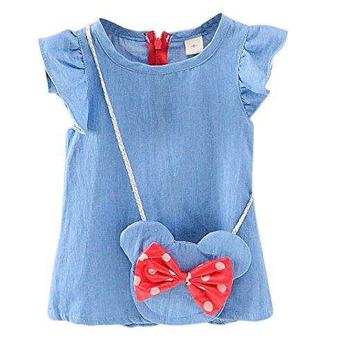 Weixinbuy Toddler Baby Girls Soft Bow Denim Jeans Skirts Dresses With Messenger (Cute Denim Skirt)