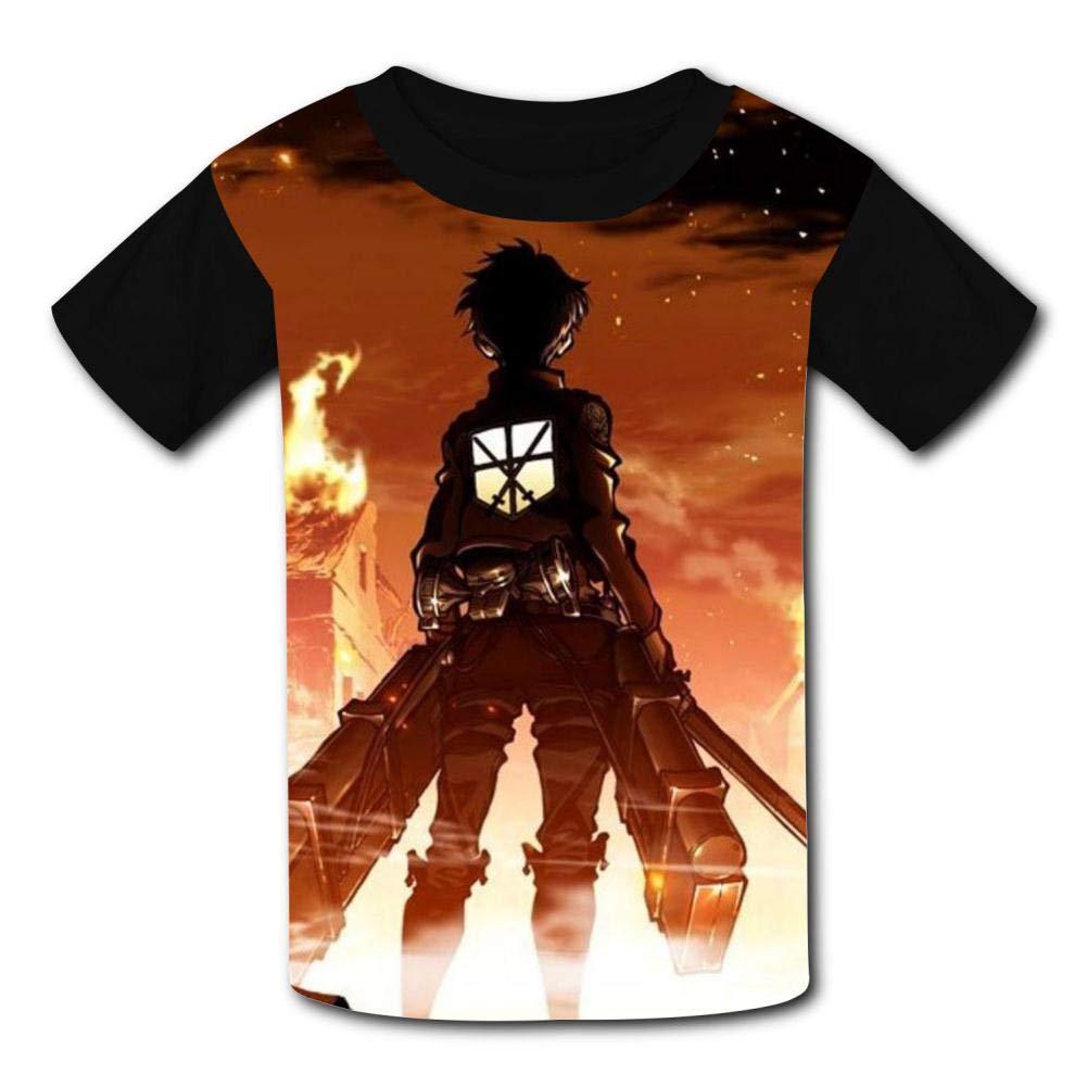 b265bf59 Amazon.com: T-Shirt Short Sleeve Kids Tee Shirt Black Attack-On ...