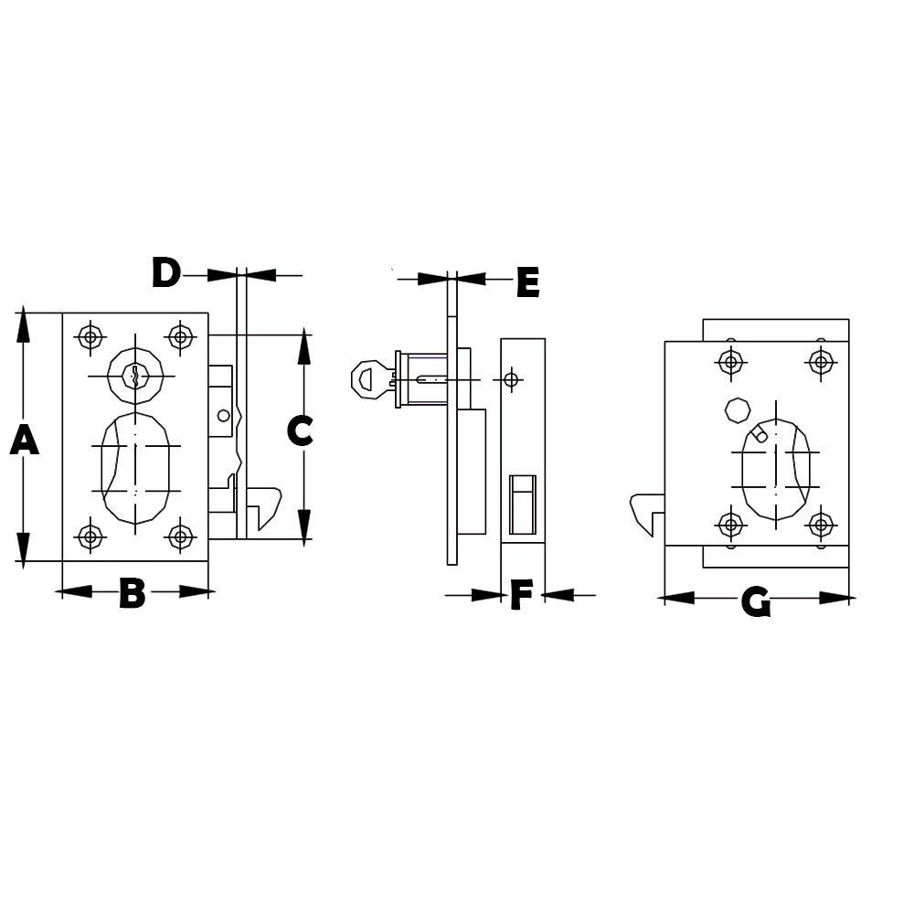 White Water S12-410 Stainless Steel Sliding Door Lock Set with Key White Water Marine Hardware