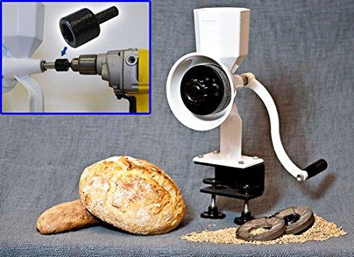 Wheat Grain Mill, Wonder Junior Deluxe Hand Mill Grain Grinder with Drill Bit Adapter
