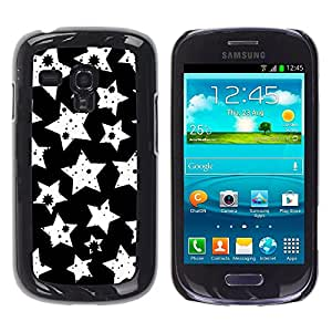 Qstar Arte & diseño plástico duro Fundas Cover Cubre Hard Case Cover para Samsung Galaxy S3 III MINI (NOT REGULAR!) / I8190 / I8190N ( Stars White Art Wallpaper Stamp Night Sky)