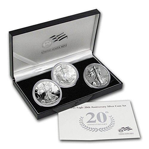 2006 W 3-Coin Proof Silver Eagle Set (20th Anniv, w/Box & COA) Brilliant Uncirculated ()