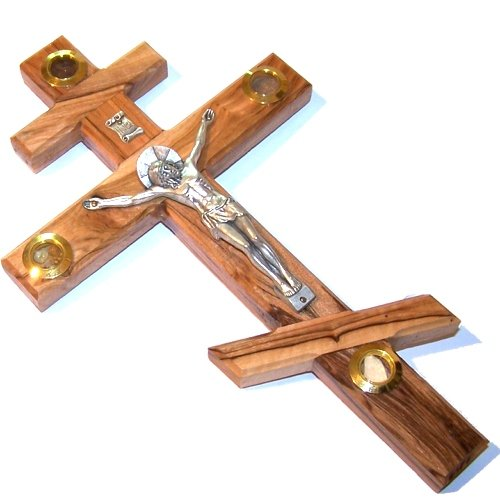 Thick olive wood Russian Orthodox or three-bar Eastern Cross / Crucifix - Also known as the Patriarchal Cross - 25cm or 10 - Orthodox Eastern Cross