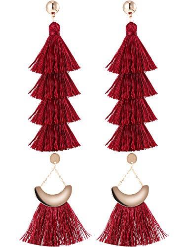 Jovitec 2 Pairs Tassel Earrings Bohemian Handmade Tiered Thread Tassel Dangle Earrings and Fan Tassel Drop Dangle Earring (Red Color)]()