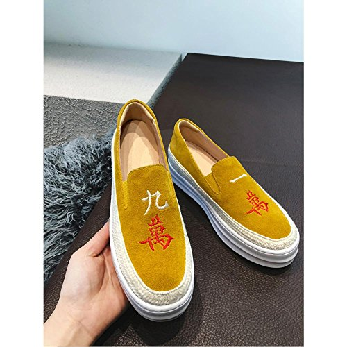 A1104 Zapatos Mujeres WSXY Yellow Serie KJJDE Simple Bordado Plataforma con Creativo xOwp7X
