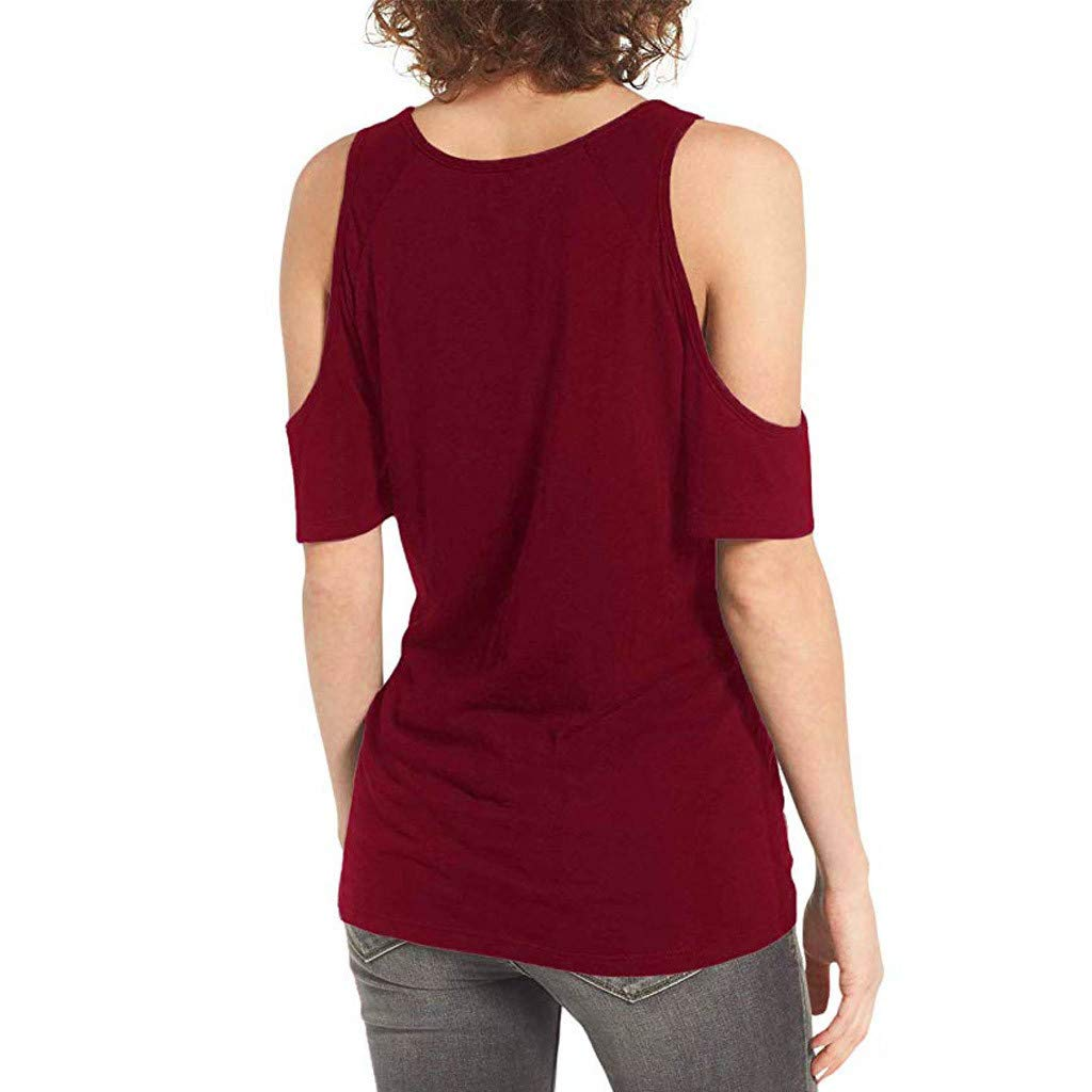 Womens Summer Cold Shoulder Short Sleeve Round Neck Bandage Basic Casual Tunic T-Shirt Tops Blouses (S, Wine) by Frost`nai Women's Blouse (Image #3)