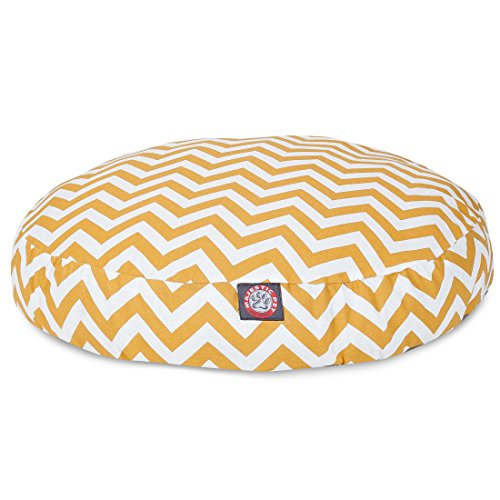 Yellow Chevron Medium Round Indoor Outdoor Pet Dog Bed With