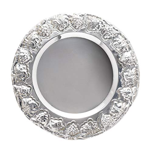 Sterling Silver Kiddush Cup Plate Wine Goblet Plate Decorative Grape Rim Shabbat Judaica ()