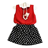 LUQUAN Girls Set Skirt Cute Chiffon Red Vest + Polka Dot Pleated Dress 130/5-6Y