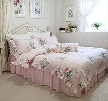 HOMIGOO Korean Vintage Floral Bedding Set Princess Quilt Cover King