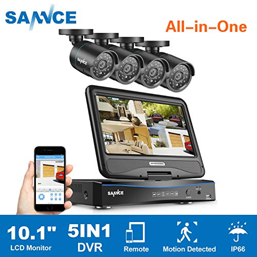 True All-in-One Home Security Camera System with Built-in 10.1″ LCD Monitor,SANNCE 4CH 720P Surveillance DVR Recorder with 4Pcs Outdoor 66ft Night Vision Cameras, Easy Remote Access (No HDD Included)