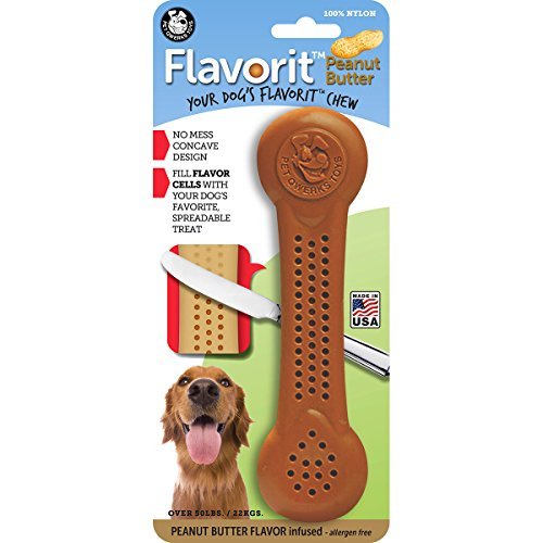Pet Qwerks Flavorit -Peanut Butter Flavored Nylon Bone for Aggressive Chewers (Made in The USA)