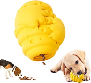 3 in 1 Dog Food Dispenser Toy, Dog Chew Toys for Puppies Teething, Indestructible Rubber Toothbrush Interactive Toy for Aggressive Chewers Large Breed Small Medium Dogs(Bear Paw Pattern)
