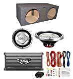 2)NEW BOSS CX122 12' 3000W Car Subwoofers + Sub Box + 1600W Amplifier + Amp Kit