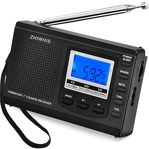 AM/FM/SW Radio, ZHIWHIS Portable Digital Alarm Clock Radio with Sleep Timer Function, Battery Operated Stereo Radio, Earphone Included (Batteries not Included, ()