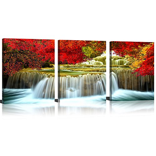 (Mode Art Waterfall Wall Art Fine Artwork Oil Painting For Living Room Red Tree Around Waterfall Canvas Wall Art  Abstract for Home Decorations)