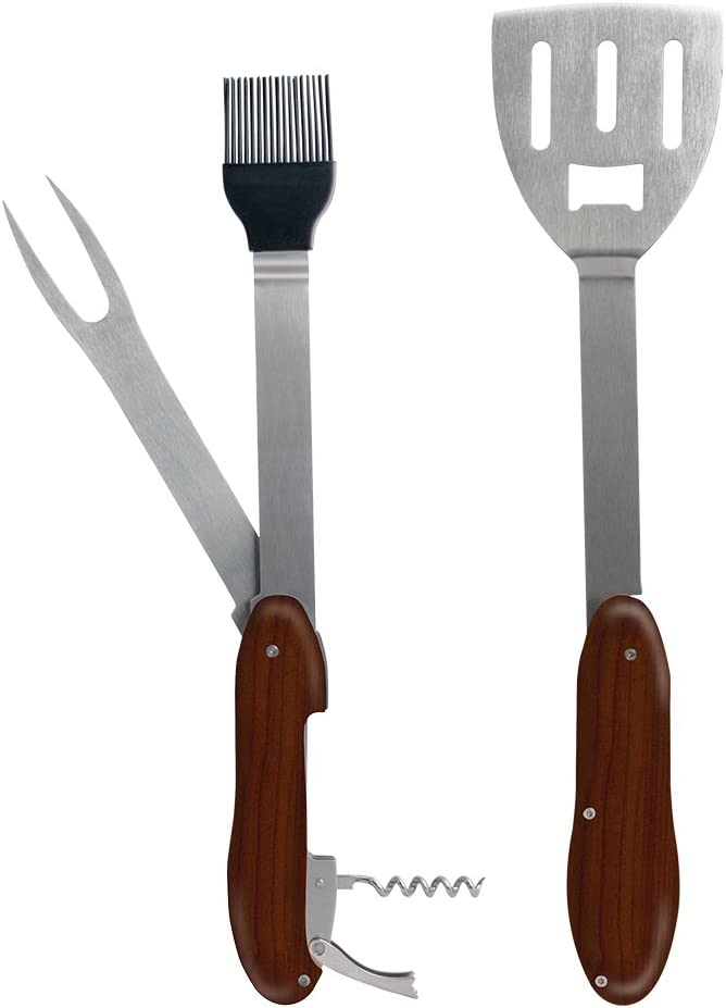 Wine Key 5-in-1 Grilling Multi Tool Fork Includes: Spatula Bottle Opener Stainless Steel Tools Deploy from Central hub basting Brush Standard Protocol Griller Ultra