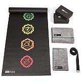Fit Spirit Yoga Starter Set Kit - Includes 6mm PVC Exercise Mat, Yoga Blocks, Yoga Towels, Yoga Strap Black