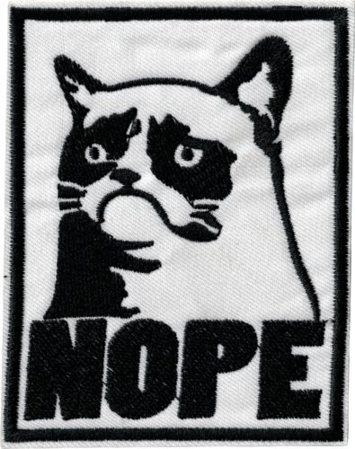 Super patch)39222 Black White Grumpy Cat Nope Portrait