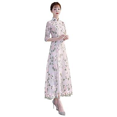 ff11f6fe0e36 Meijunter Damen Chinesisches Langes Cheongsam - Blumenstickerei ...
