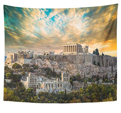 - Emvency Tapestry Polyester Fabric Print Home Decor Blue Ancient Parthenon Acropolis of Athens Under Dramatic Sunset Sky Greece Wall Hanging Tapestry for Living Room Bedroom Dorm 50x60 inches