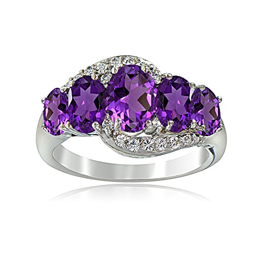 Sterling Silver African Amethyst & White Topaz 5-Stone Ring, Size 7
