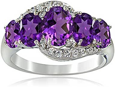 Sterling Silver African Amethyst & White Topaz 5-Stone Ring